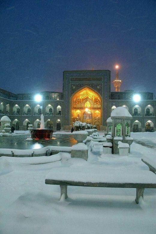 نحوه بستن روسری های مجری صدا سیما عکس/ بارش برف در حرم امام رضا (ع)