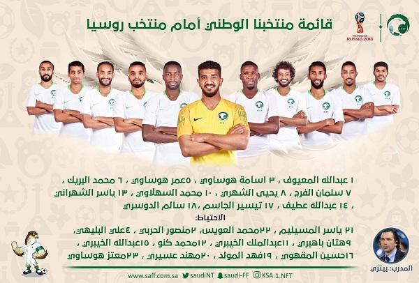 ترکیب تیم ملی عربستان برای دیدار با روسیه اعلام شد+عکس